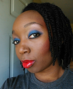 Lips: Nars Jungle Red Lipstick and Nars Wonder Lip Gloss Cheeks: Mac Cosmetics Blunt Nars Exhibit A.