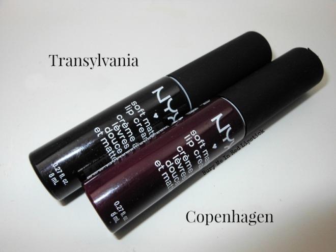NYX Soft Matte Lip Cream Transylvania and Copenhagen