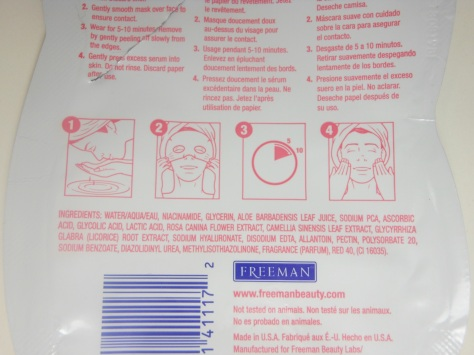 Freeman Rose Paper Mask Ingredients