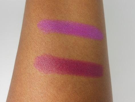 Violet Volt and Sangria Swatch on dark skin