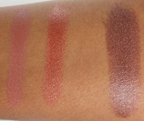Milani Lipstick Swatches: Teddy Bare, Cinnamon Spice, Double Espresso