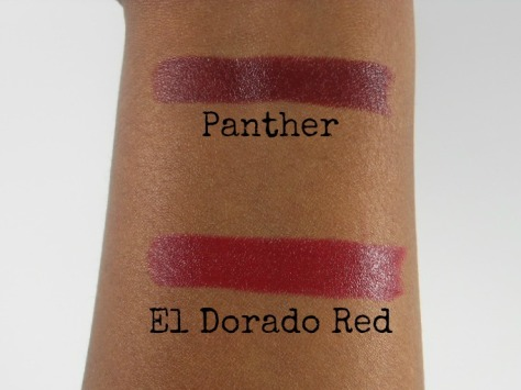 Black Radiance Panther and El Dorado Red Lipsticks