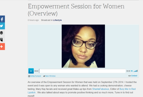 http://www.blogtalkradio.com/talkwithhoperadio/2014/10/27/empowerment-session-for-women-overview#.VEaOLsIU3BI.facebook