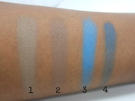 Black Radiance Eye Appeal Island Blues Left Side Swatches on Dark Skin