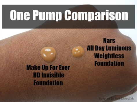 One Pump Comparison between Nars and MUFE
